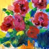 """Orange Vase and Red Blooms"""