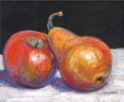 Apple and Leaning Pear - SOLD